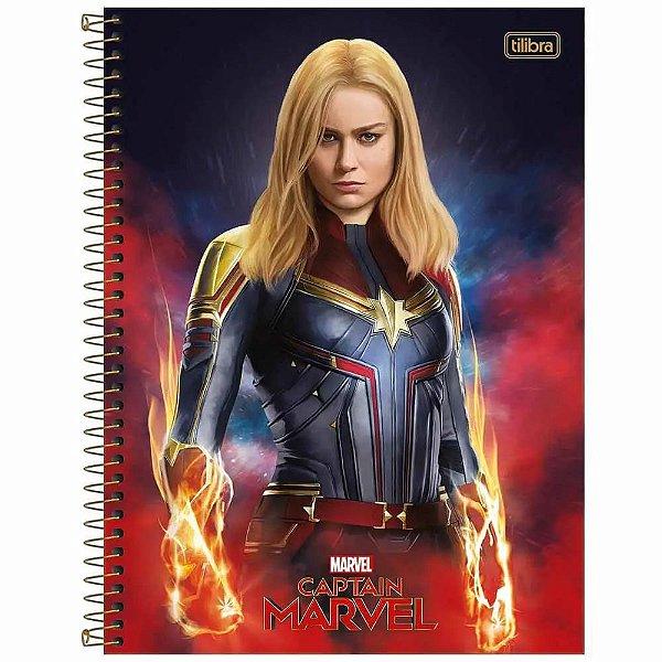 Caderno Capitã Marvel - Figura - 80 Folhas - Tilibra