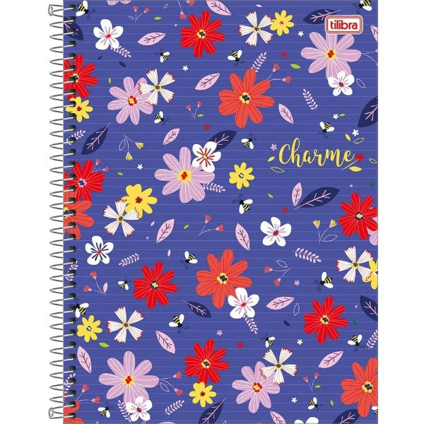 Caderno Charme - Flores - 160 Folhas - Tilibra