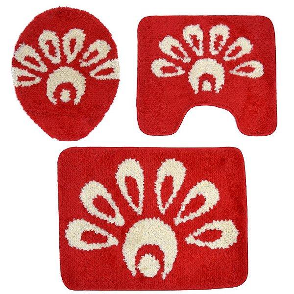 Jogo de Banheiro Miragge Antiderrapante - 3 Peças - Vermelho - Sultan
