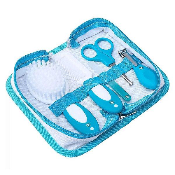 Kit Cuidados Para o Bebê 5 Peças Com Necessaire - Azul - Pimpolho