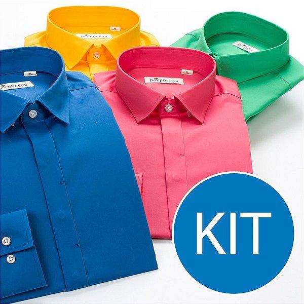 2d90f47a94 KIT Camisa Social Masculina Várias Marcas - Kuluku Shop