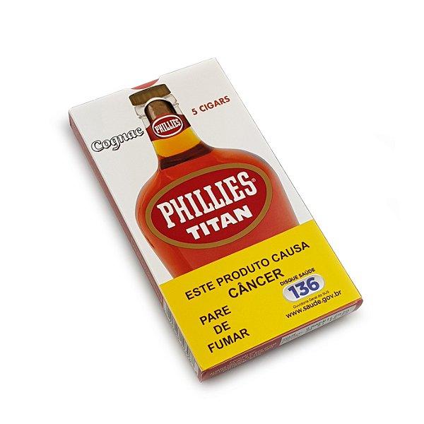 Charuto Phillies Titan Cognac - Petaca com 5