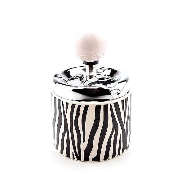 Cinzeiro de Cerâmica para Cigarro Redondo - Zebra