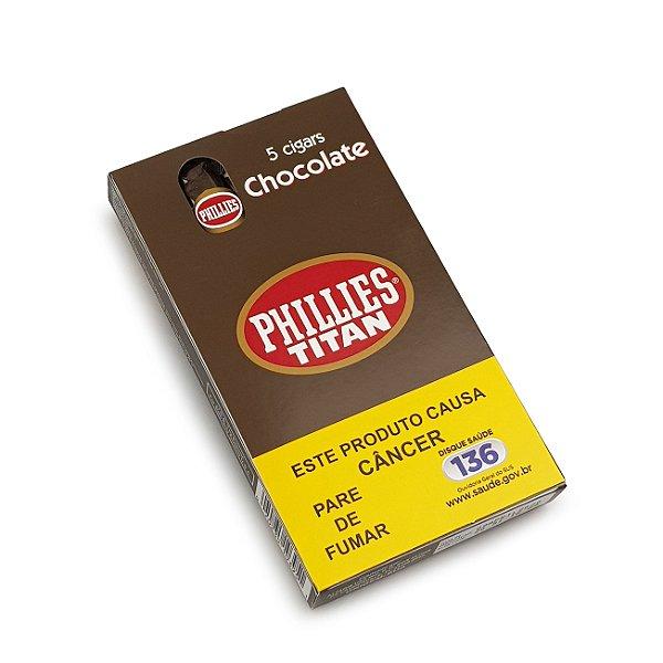 Charuto Phillies Titan Chocolate - Petaca com 5
