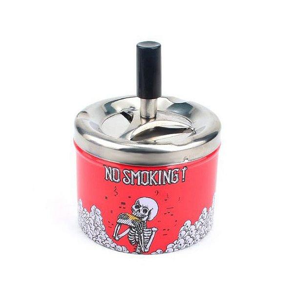 Cinzeiro de Alumínio com Tampa Giratória - No Smoking