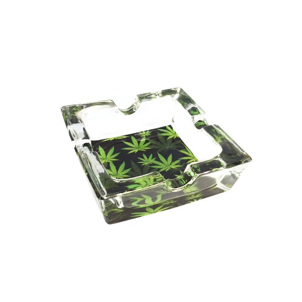 Cinzeiro de Vidro para Cigarro Quadrado Pequeno - Hemp 01