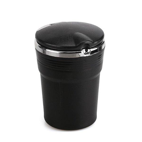 Cinzeiro de Plástico Portátil com Tampa e Luz Mod.02 - Preto