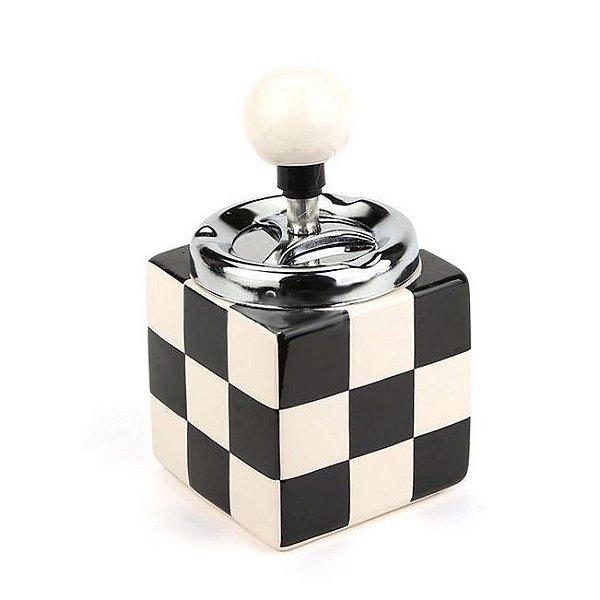 Cinzeiro de Cerâmica com Tampa Giratória - Preto e Branco