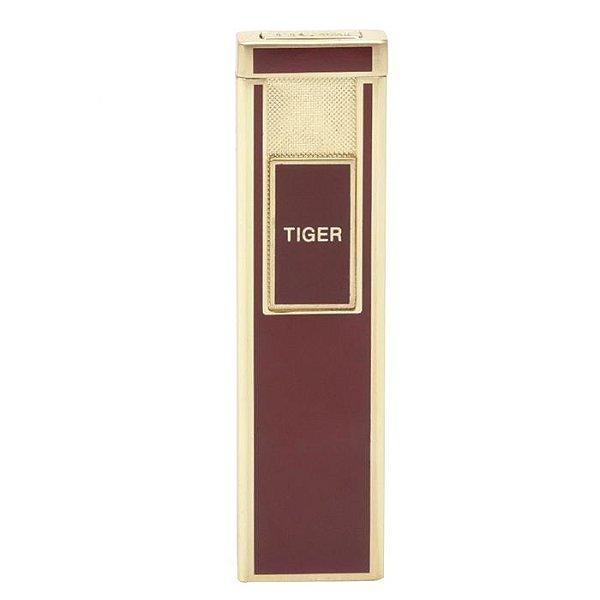 Isqueiro Eletrônico Tiger Slide Slim - Marrom/Dourado