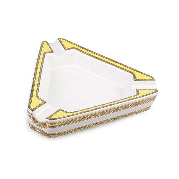 Cinzeiro de Ceramica para 3 Charutos Motier - Branco e Amarelo