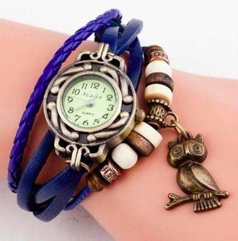 Relógio Azul Coruja