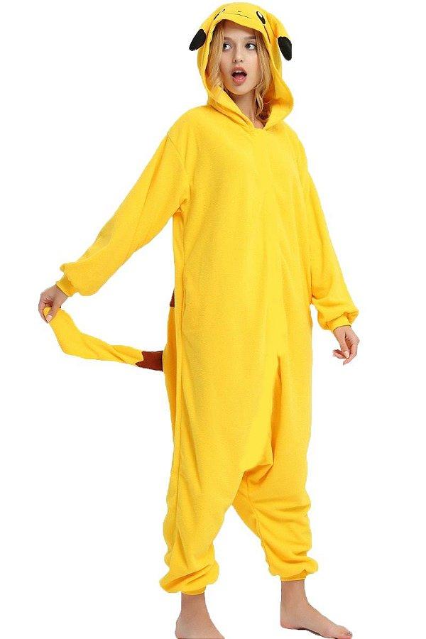 Pijama Kigurumi Pikachu Pokemon Macacão Unissex