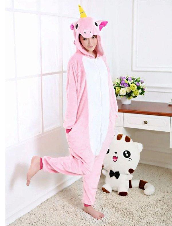 Pijama Kigurumi Unicórnio Rosa Macacão Unissex com Capuz