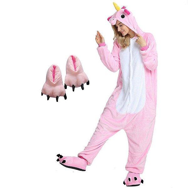 Kit Pijama Unicórnio Rosa com Pantufa Pata