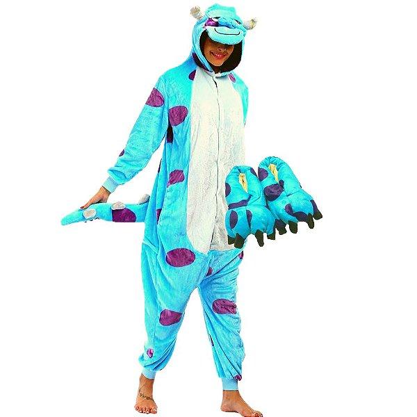 Kit Pijama e Pantufa Sullivan Fantasia Kigurumi Sulley Monstros SA