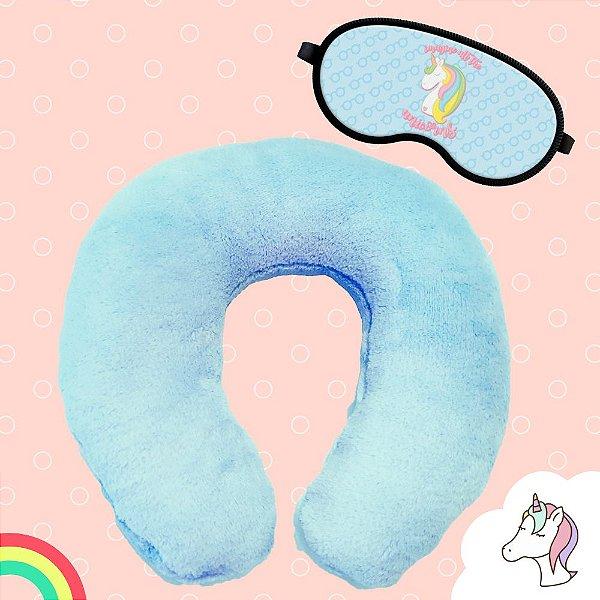 Kit Almofada de Pescoço Azul com Máscara de Dormir Unicórnio Tapa Olho Soneca