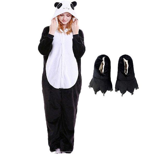 Kit Pijama Panda com Pantufa Pata Preta Kigurumi Unissex
