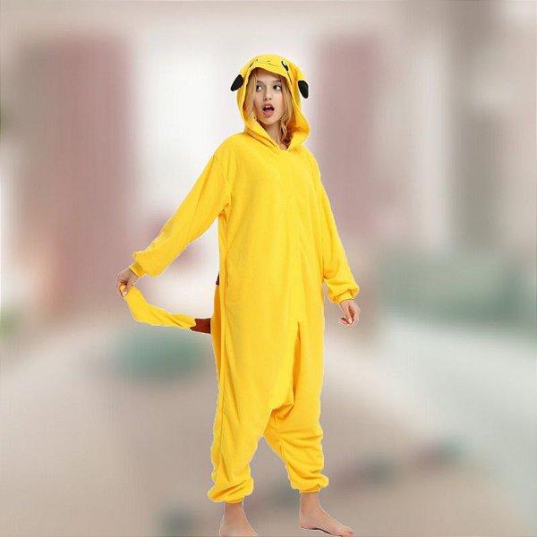 Pijama Fantasia Macacão Kigurumi Pikachu Pokemon