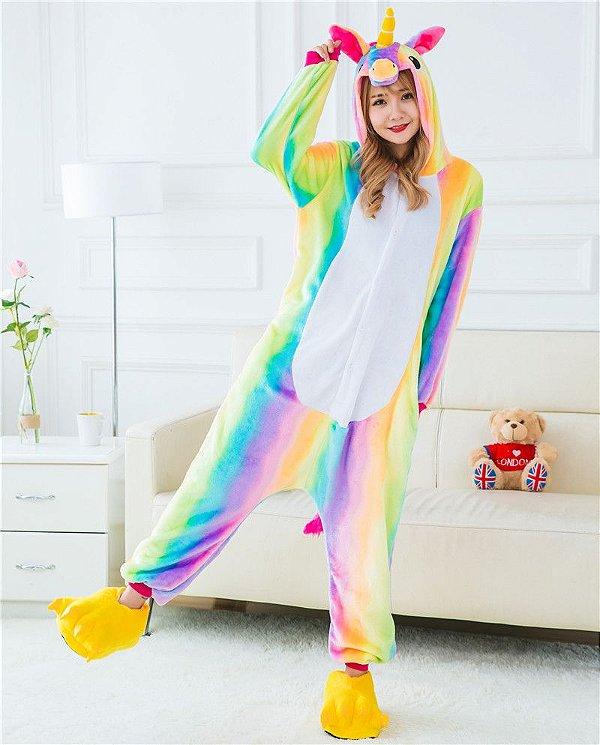 Pijama Fantasia Kigurumi Unicórnio Arco-iris Colorido