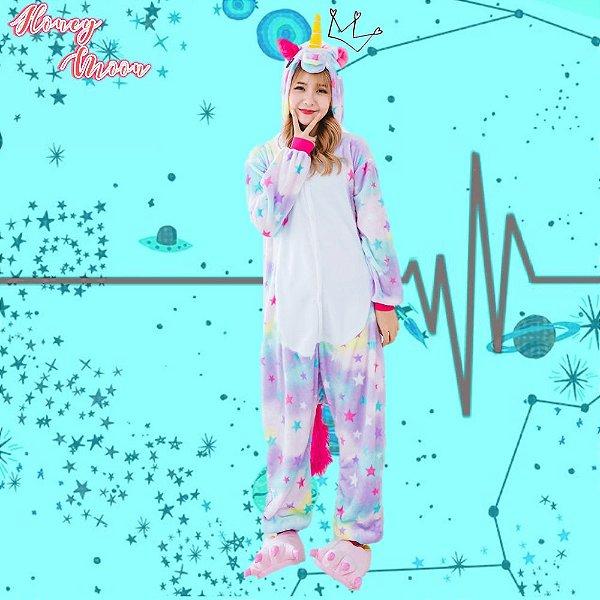 Pijama Macacão Fantasia Kigurumi Unicórnio Estrelinha