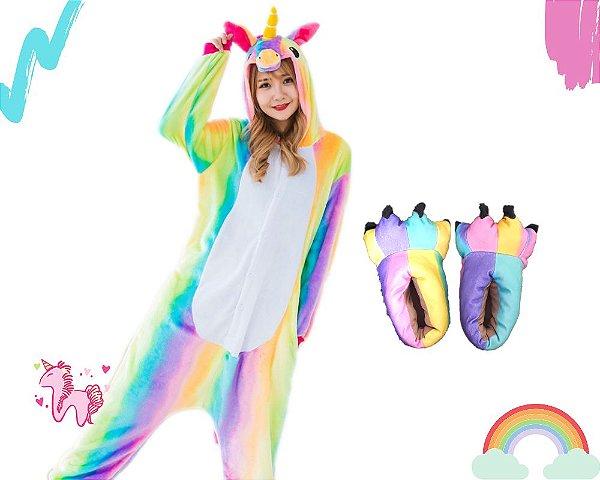 Kit Pijama e Pantufa Macacão Fantasia Kigurumi Unicórnio Arco-iris