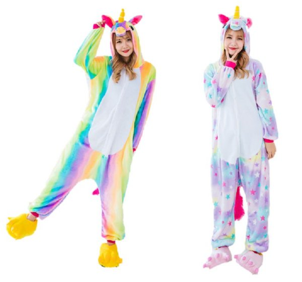 Kit 2 Pijamas Unicórnio Estrela e Arco Iris Kigurumi Unissex