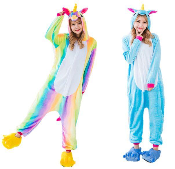 Kit 2 Pijamas Unicórnio Arco-iris e Azul Kigurumi Unissex