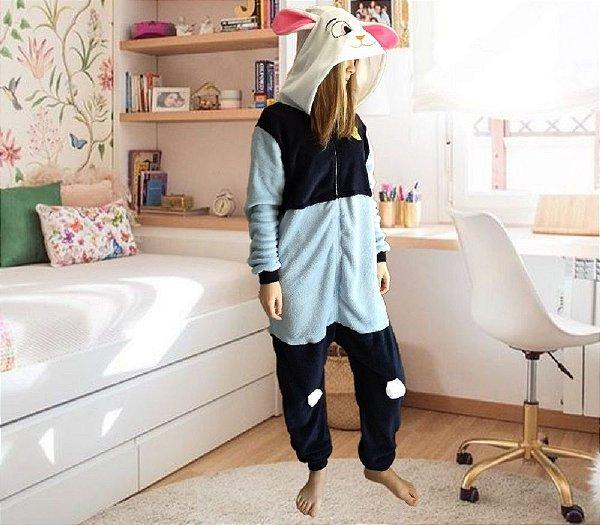 Pijama Coelha Judy Hopps Kigurumi Fantasia Macacão Unissex