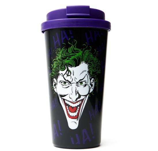 Copo com Tampa Joker Coringa HaHaHa DC Comics 500ml Geek Nerd