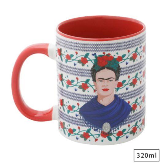 Caneca Frida Kahlo Face and Flowers Inspiradora 320ml