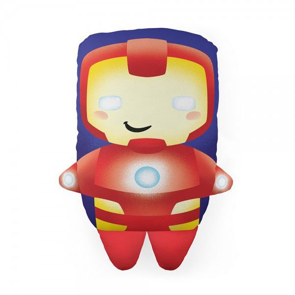 Almofada Cute Iron Man Marvell Homem de Ferro Herói Decoração Geek com Enchimento