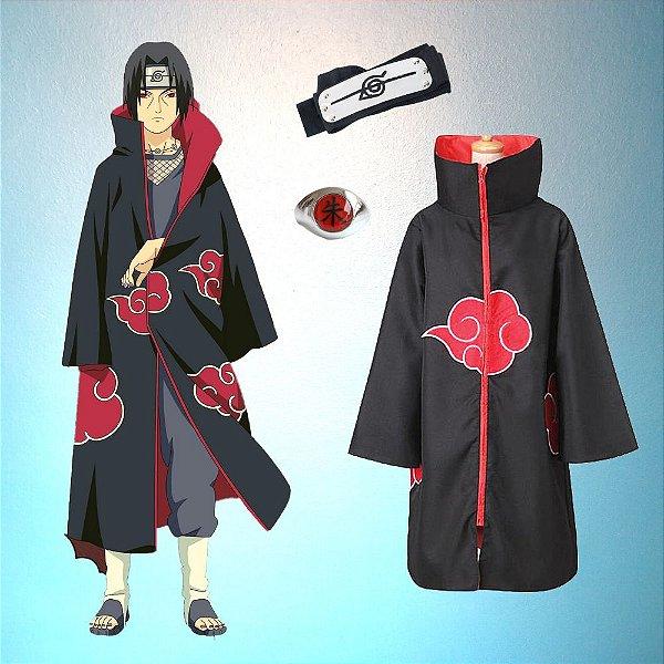 Kit Akatsuki Capa + Bandana Anel Itachi Uchiha Anime Naruto