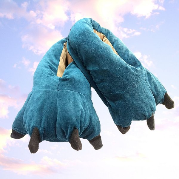 Pantufa Azul Petróleo Chinelo de Frio Pata de Garra - Calça 35 a 39