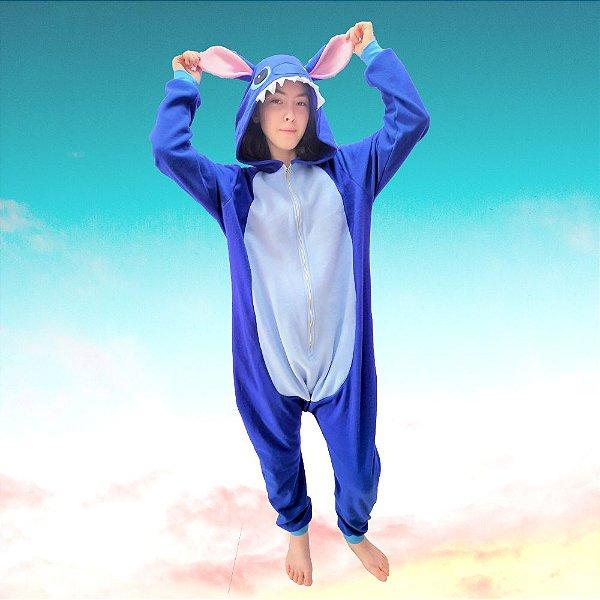 Pijama Kigurumi Lilo Stitch Azul Macacão com Capuz