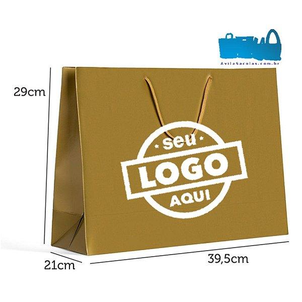 500 Sacolas de Papel Alça Cordão 39,5x29x12cm