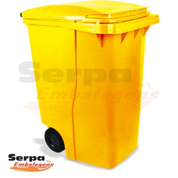 Coletor de Lixo com Tampa 360 Litros Amarelo
