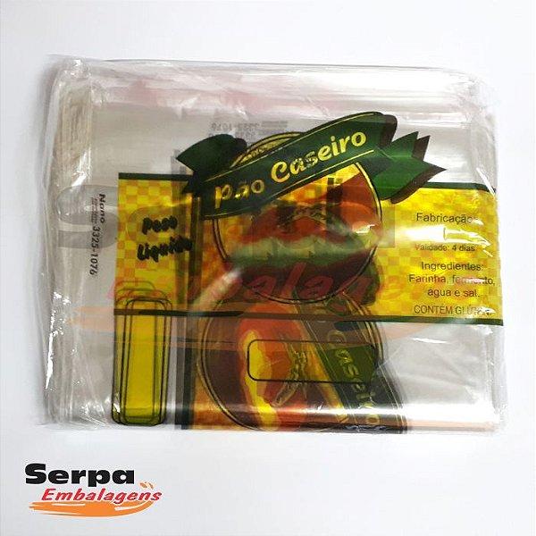 Saco Plástico para Pão com Impressão Pão Caseiro