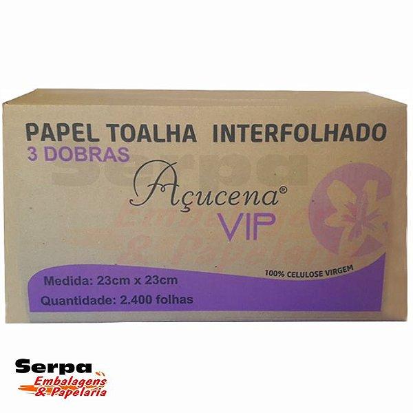 Papel Toalha VIP LIGHT 3 Dobras EXTRA LUXO 23x23 cm com 2.400 Folhas - AÇUCENA