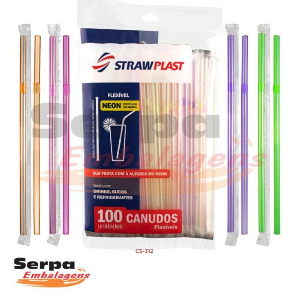 Canudo Flexível Neon - Pacote com 100 unidades
