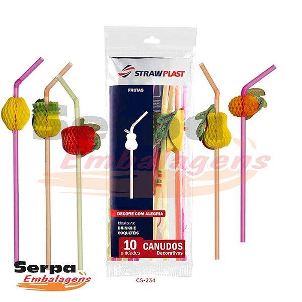 Canudo Decorativo Frutas - Pacote com 6 unidades