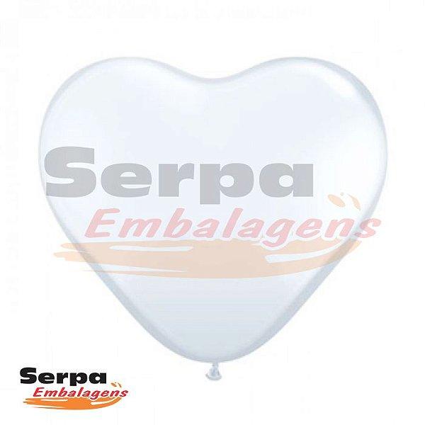 Balão n°10 Coração Branco - Pacote com 25 unidades