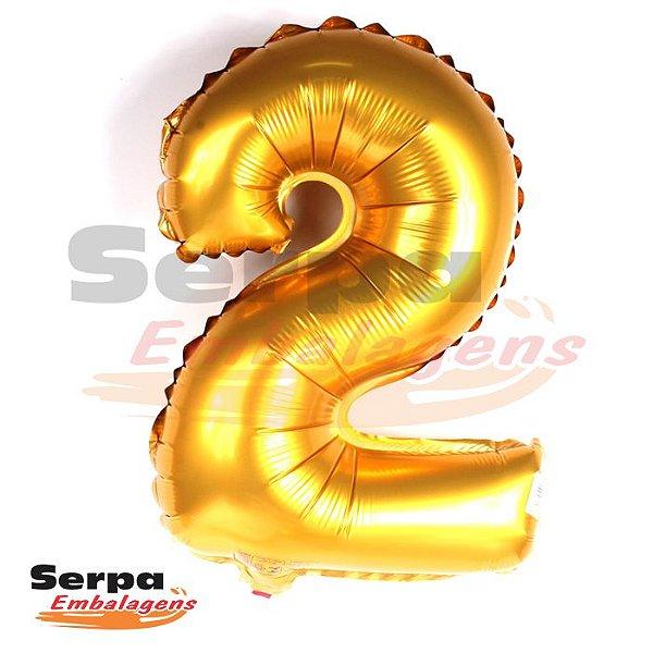 Balão Metalizado Número 2 - 110 cm DOURADO