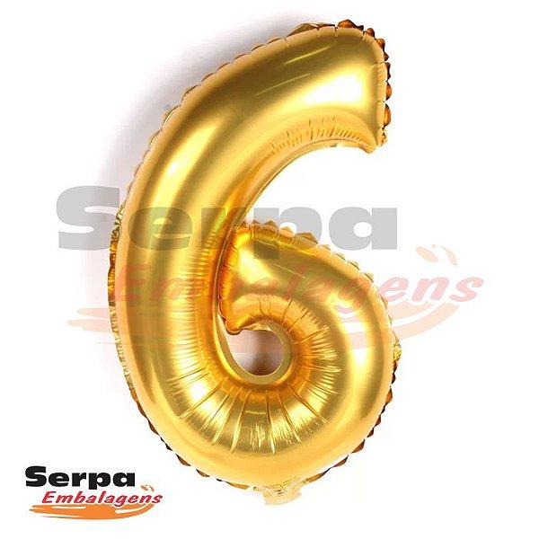 Balão Metalizado Número 6 - 110 cm DOURADO