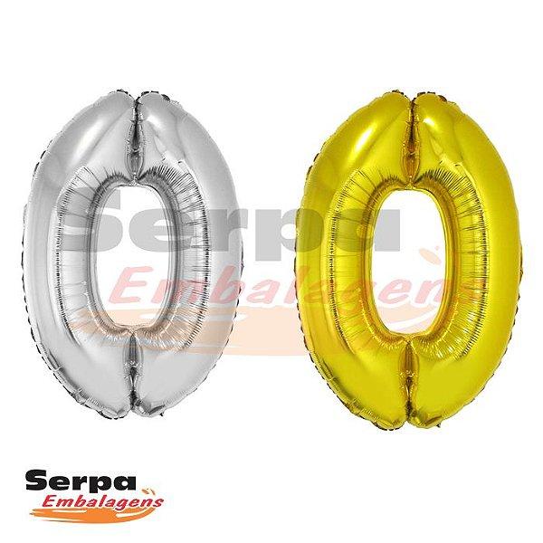 Balão Metalizado Número 0 - 40 cm DOURADO ou PRATA com Bastão