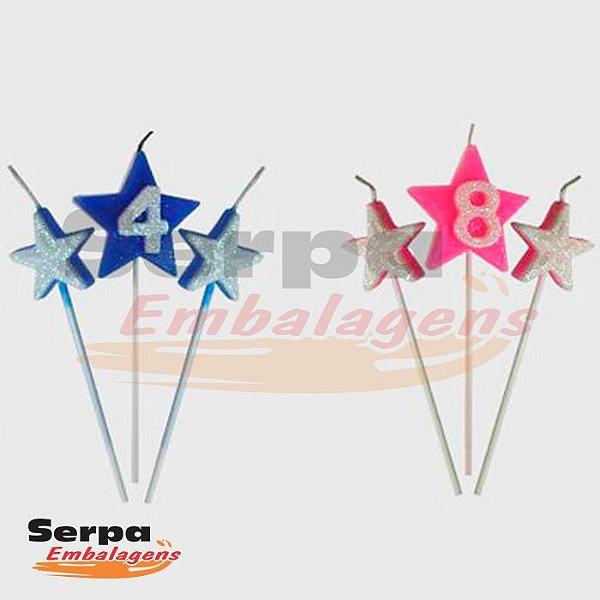 Vela NEW STAR Tripla com Glitter