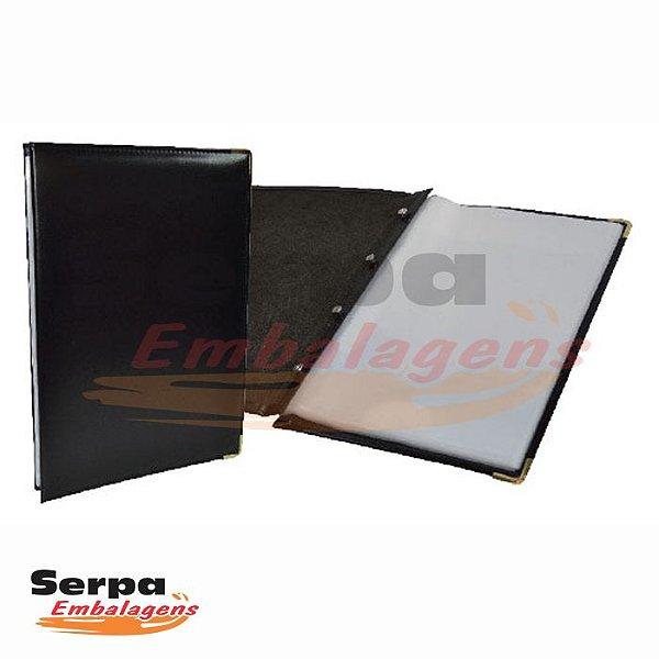 Pasta Catálogo PVC 50 Envelopes Plásticos com Capa Courvin Liso