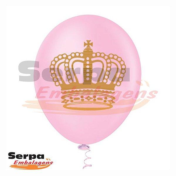 Balão n°10 Rosa com Coroa - Pacote com 25 unidades