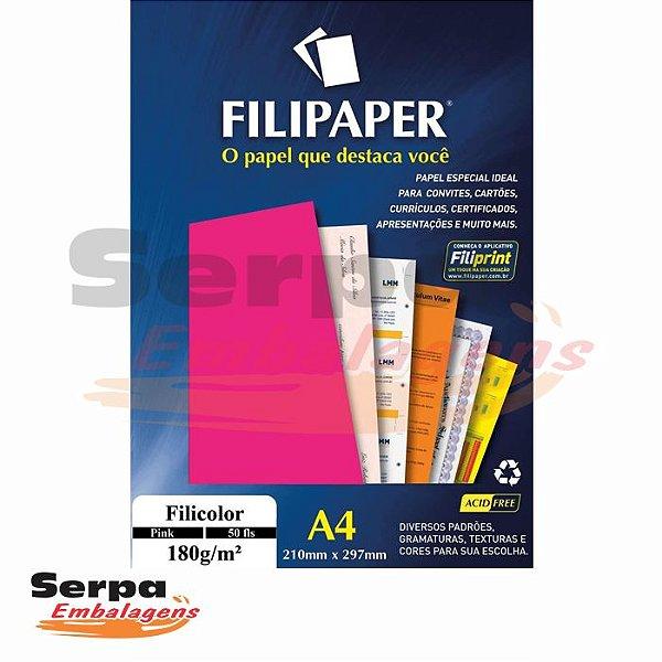 Papel A4 Pink 180g - Pacote com 50 unidades