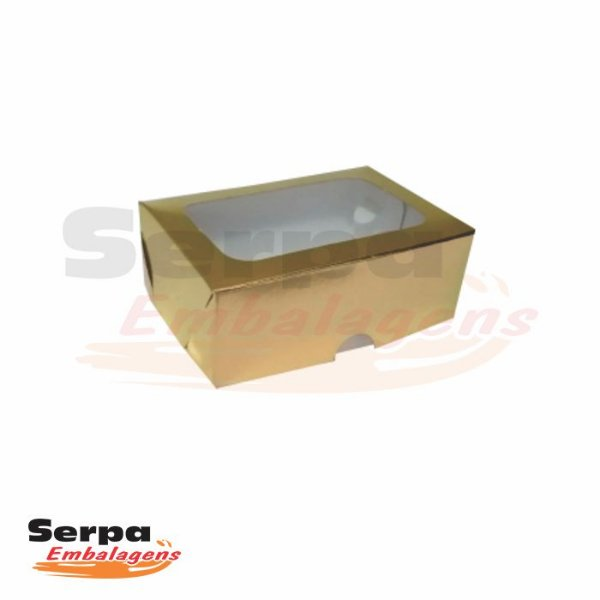 Caixa com Visor - 9,5 x 6,5 x 3,5 cm - Dourada