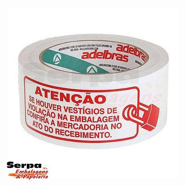 Fita Polisil 48x100 Impressa Branca - LACRE SEGURANÇA - ADELBRAS